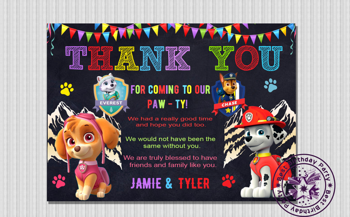 Paw patrol birthday thank you cards, Sky & Marshall Paw Patrol Thank You Card,