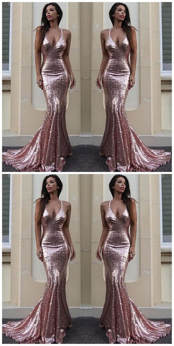 ceb8b64b Sexy Backless Rose Gold Sequin Mermaid Evening Prom Dresses, Popular 2018  Party