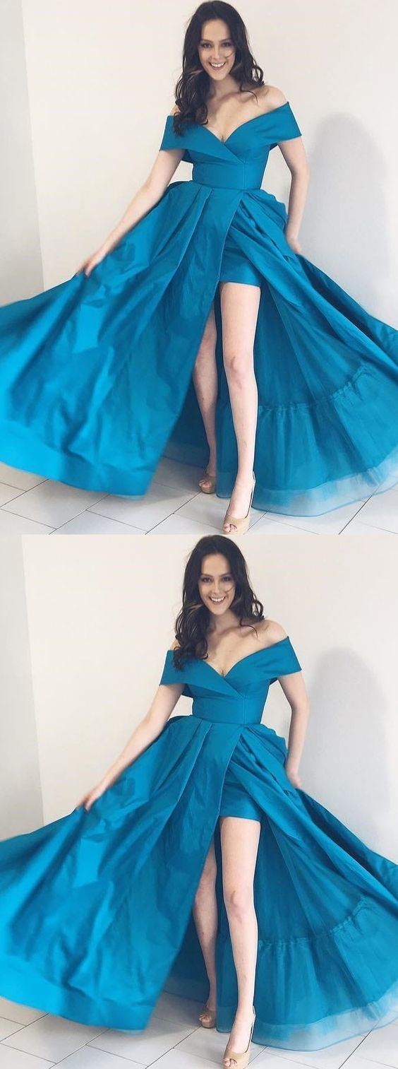 c98be043edda A-Line Off-the-Shoulder Turquoise Satin Pockets Prom Dress with Split