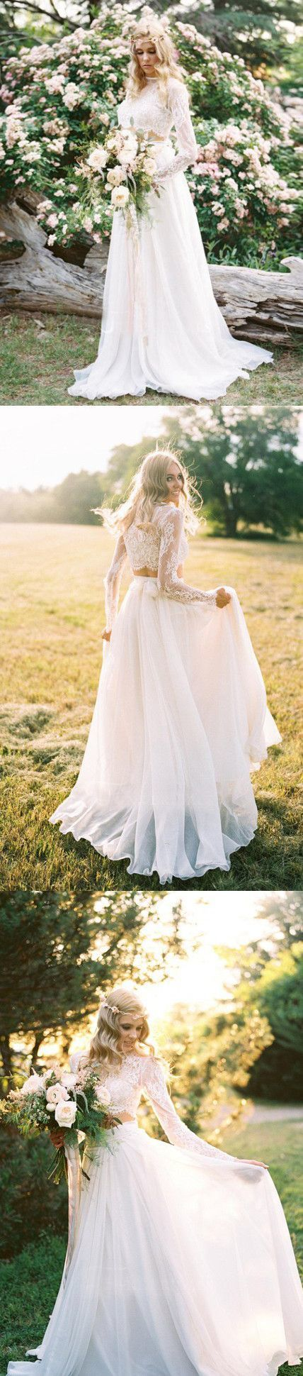 CHIC A-LINE TWO PIECES BATEAU LONG SLEEVE IVORY WEDDING DRESS MODEST LACE