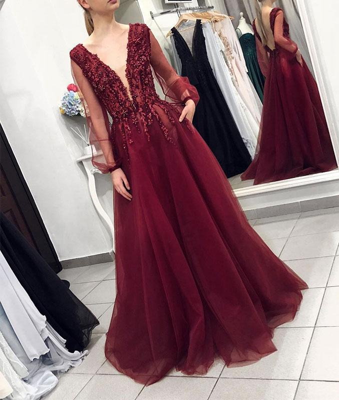 Burgundy Prom Dress,Appliques Prom Gown,Long-Sleeves Prom Dress,V-Neck Prom Gown