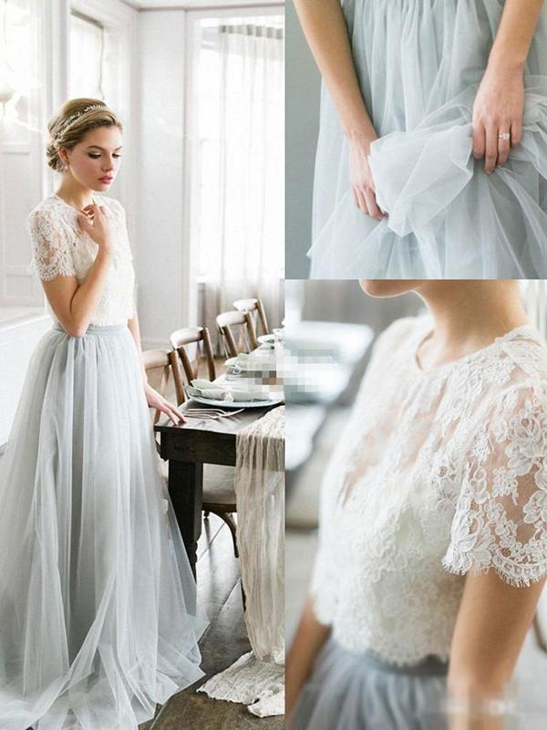 Two Piece Prom Dress Simple Modest Elegant Lace Cheap Long Prom Dress