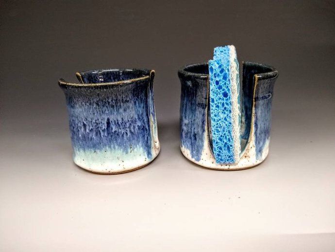 Waterfall blue color, Ceramic Sponge holder, ready to ship