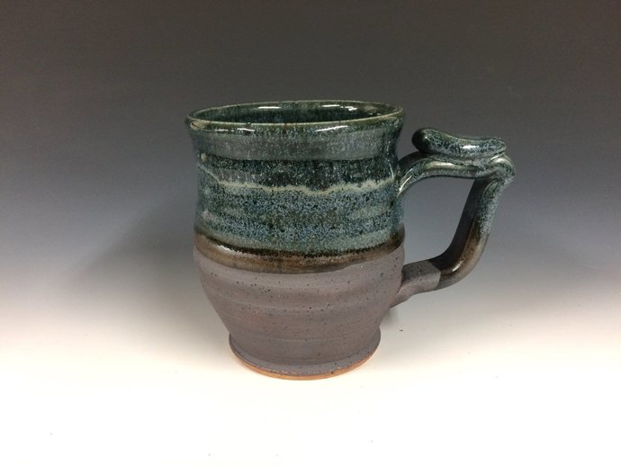 Blue sky mug, handmade pottery, beer stein, ready to ship