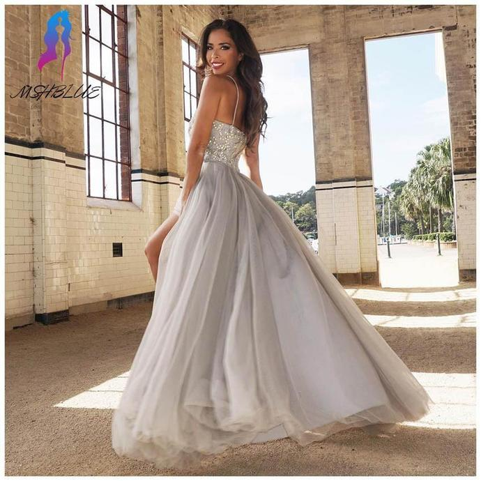 A-line Prom Dress Floor Length Prom Dresses Evening Dress With Beading Dresses