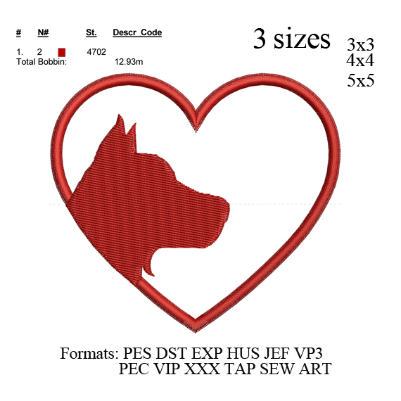 Dog heart embroidery Design, Cat heart embroidery pattern No 723.... 3 sizes