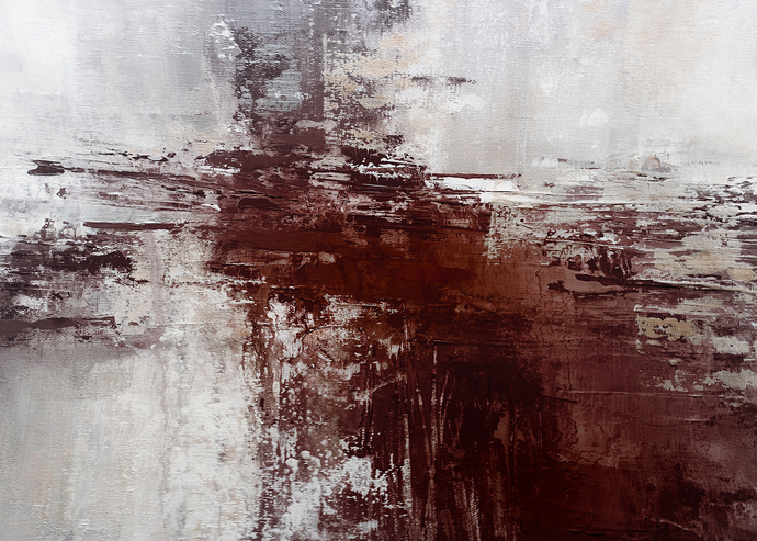 Neutral Abstract Art, horizontal abstract, Mixed Media Art, Beige and Brown Art,