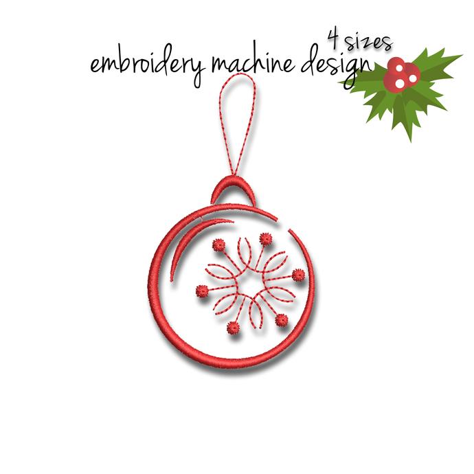 Christmas ball machine embroidery design winter designs pattern instant digital