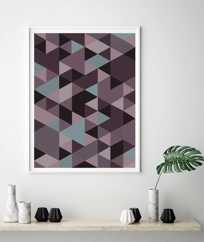 Purple pink blush violet light blue ,Poster, Geometric Design, Modern Print,