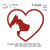 Cat and dog heart embroidery Design, Cat and dog heart embroidery pattern No