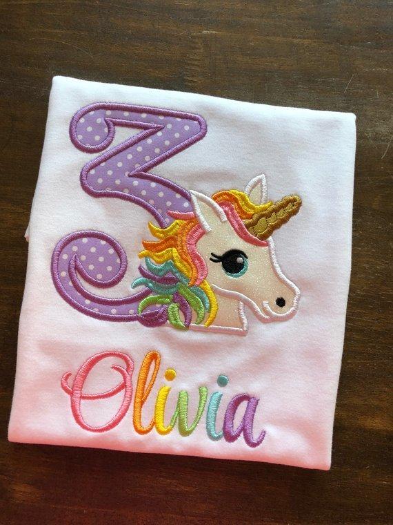 Unicorn Birthday Shirt Rainbow By Shining Arrow Boutique On Zibbet