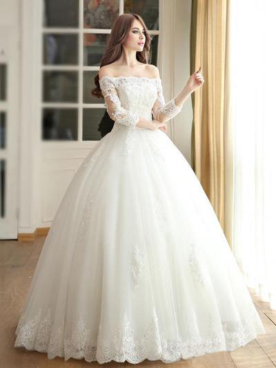 Long Princess wedding dress,Long Sleeves
