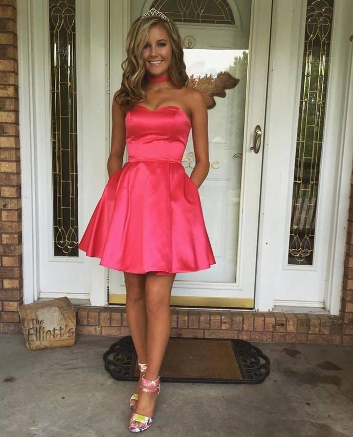 Short Prom Dress, Satin Homecoming Dress, Cute Cocktail Dress