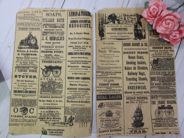 10pc Vintage Craft Newspaper Paper bags - 9.5 by 6 inch