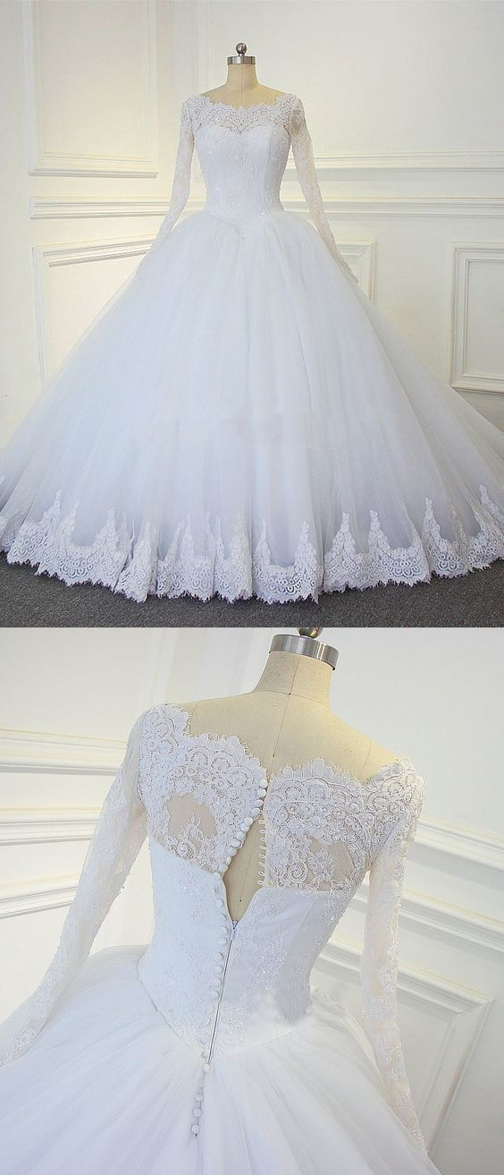 Formal Long Sleeve Appliques White Tulle Ball Gown Wedding Dresses