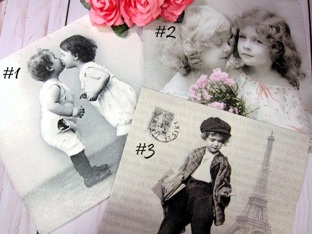 Vintage Children Napkins - 6.5 inch