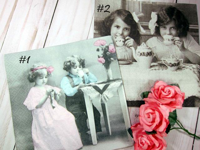 Vintage Children/Tea Party Napkins - 6.5 inch