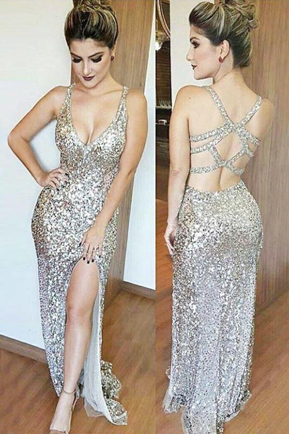 Golden Sheath Floor Length Sleeveless Open Back Slid Slit Sparkle Prom