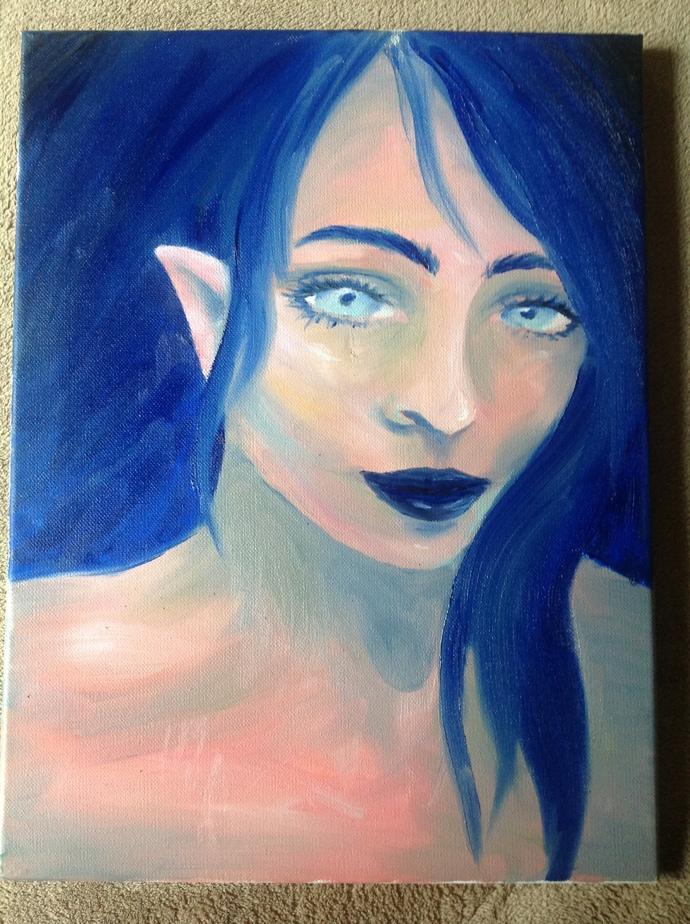 Original Oil Painting on Canvas Blue Pixie Elf