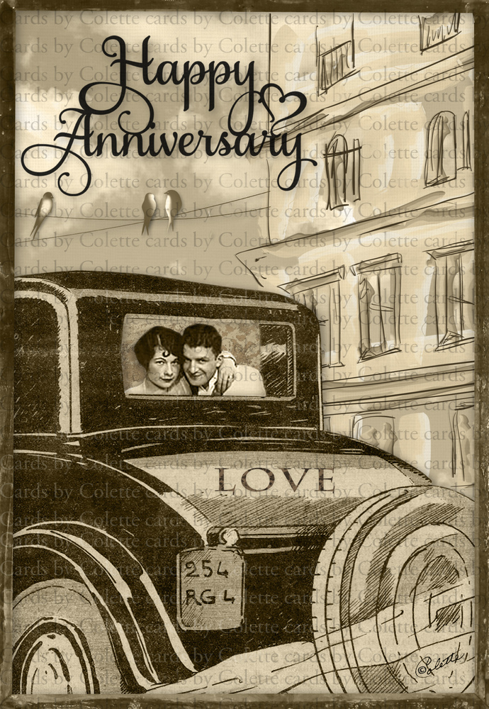 Happy Anniversary Digital Collage Greeting Card2043