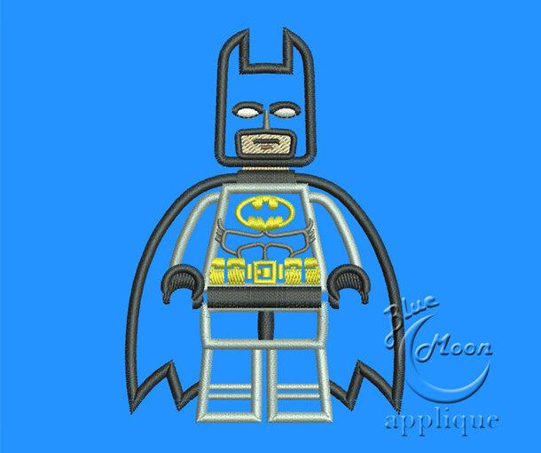 cute batman lego Applique Design for Embroidery Machine.  Size 4x4.  Instant
