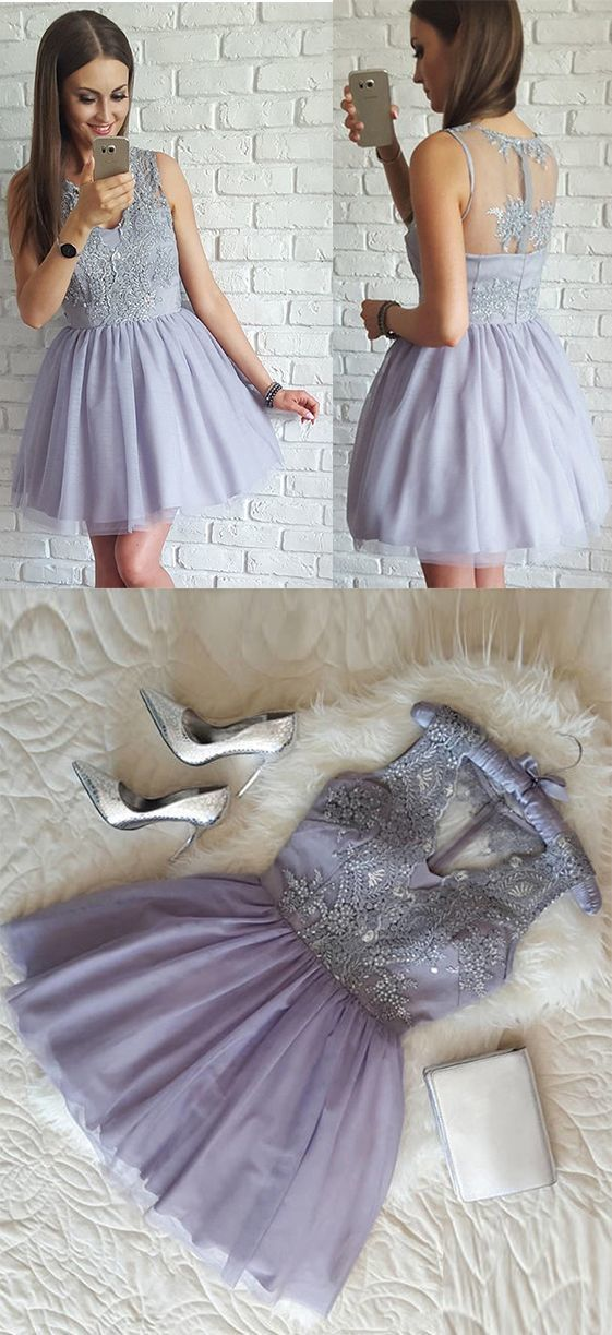1b29722a307 Lavender A-Line V-Neck Tulle Homecoming Dress
