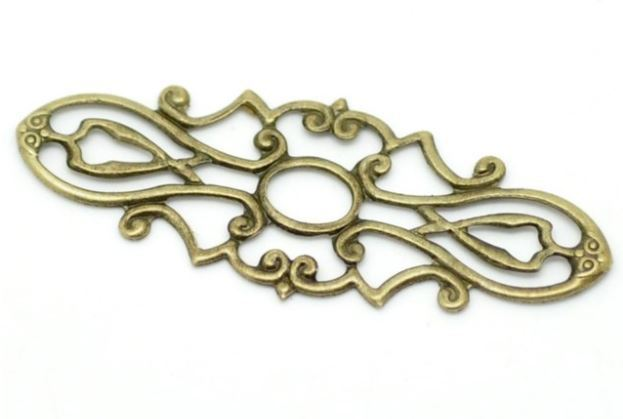 1.5 Inch Antique Bronze Metal Filigree 10 Pieces