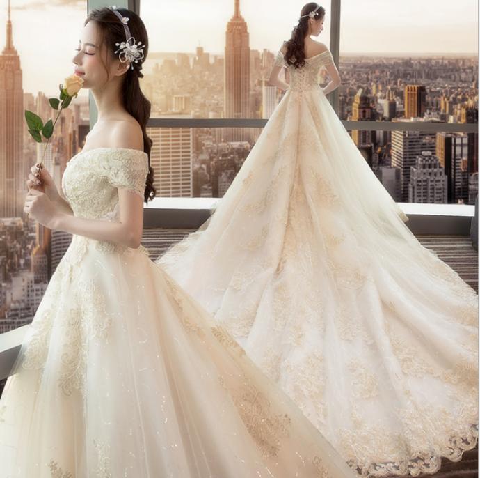 New bride champagne color shoulder v neck long tailed Mori Princess wedding