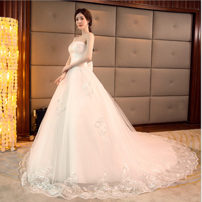 New tube top Qi Korean long tail bride wedding dress