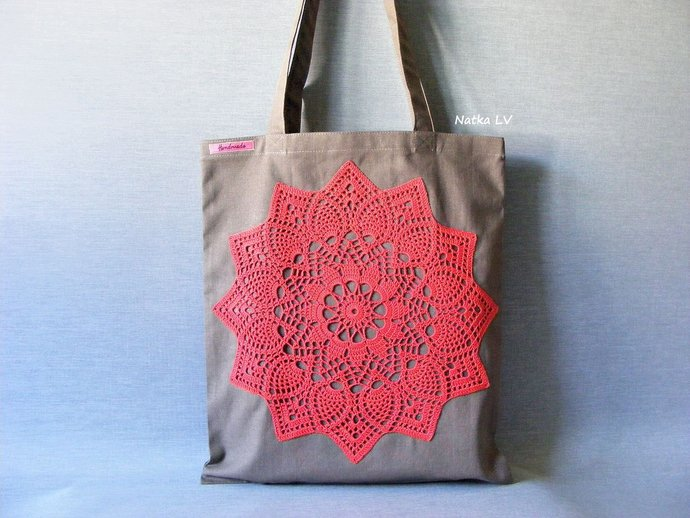 Brown tote bag, natural linen shopping bag, eco bag with crochet applique,