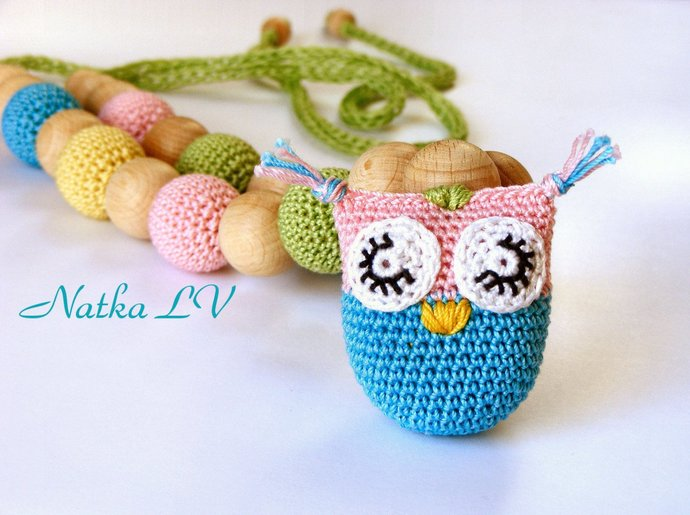 Owl nursing necklace, teething necklace, breastfeeding necklace, natural, eco