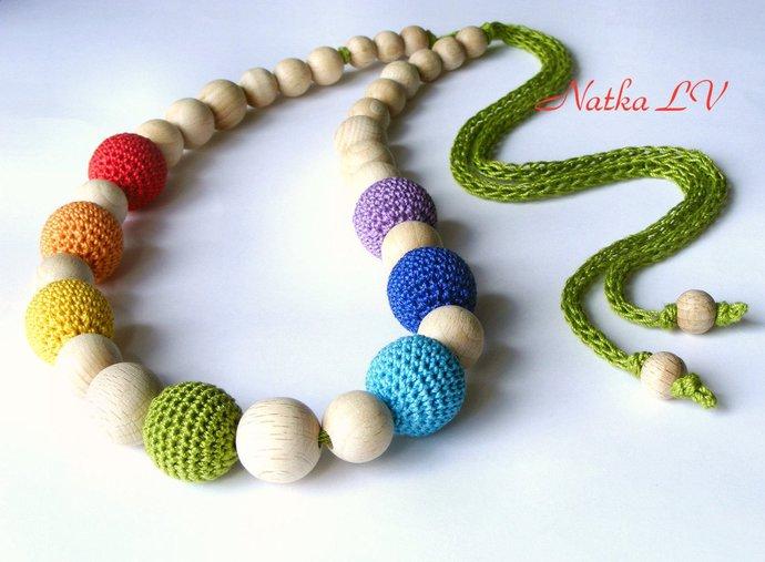 Rainbow nursing necklace, multicolor teething necklace, breastfeeding necklace,