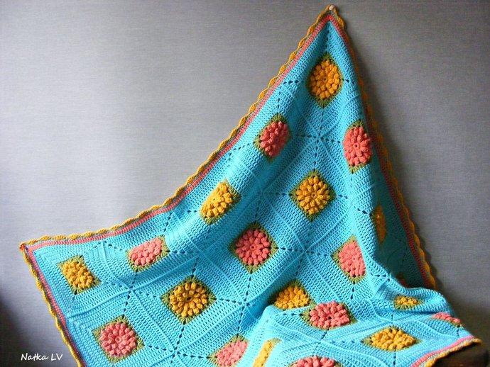 Crochet baby blanket, blue flower blanket, granny square blanket, baby boy girl