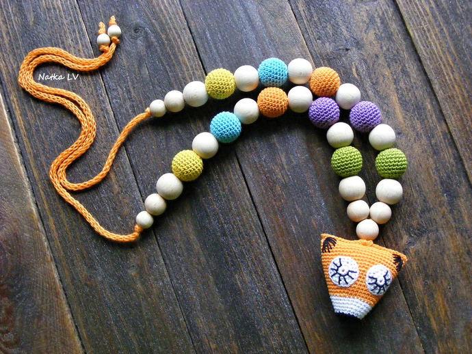 Fox nursing necklace, teething necklace, breastfeeding necklace, natural,