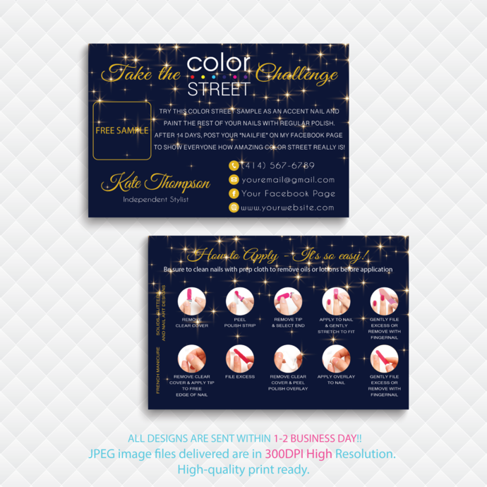 Color Street Free Sample, Personalied Color Street Twosie Cards, Color Street