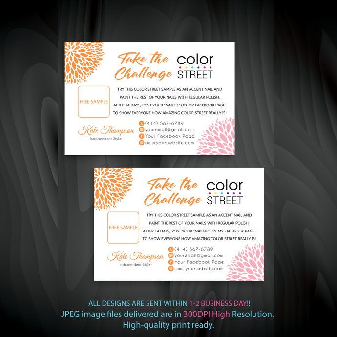 Personalied Color Street Twosie Cards, Color Street Challenge, Color Street Free