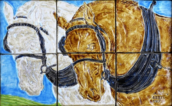 Tile wall art, Hand painted tiles, Ceramic wall art, The Shire Horses - Wall