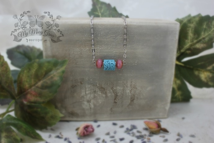 Lauren Aromatherapy Necklace - Pink Gold Washed Czech Glass Beads - Turquoise