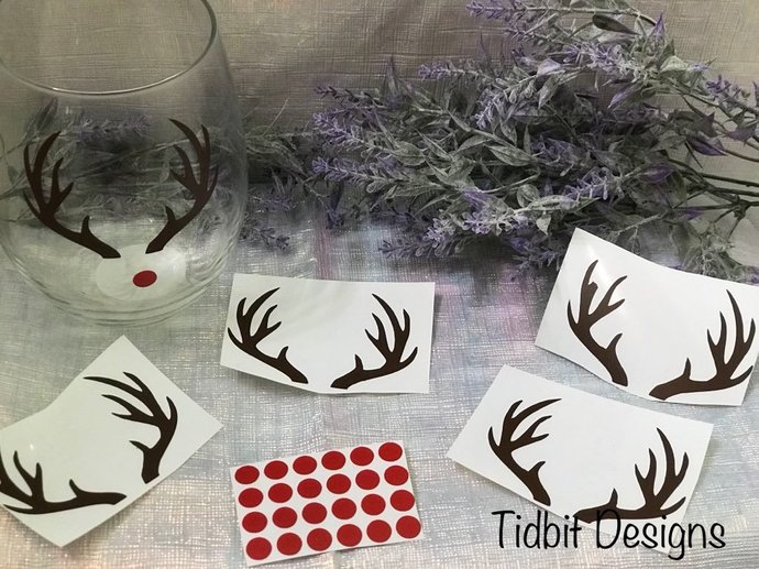 Sheet of 6 Reindeer Christmas / Holiday Decals  / D.I.Y Project