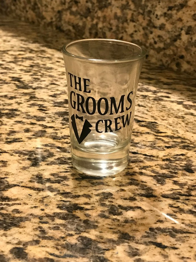 The Grooms Crew Bachelor Party Shot Glass