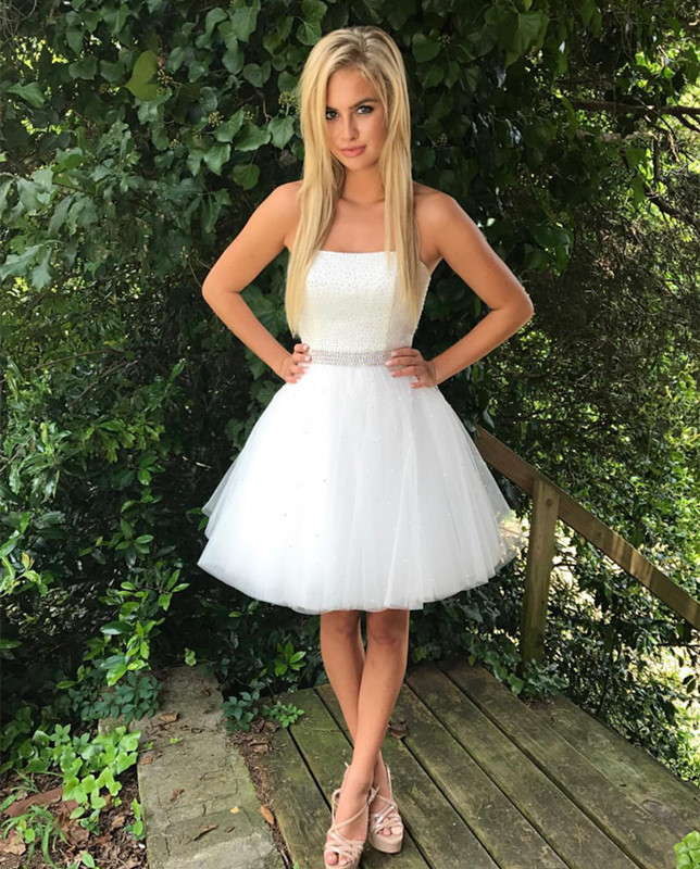 White Strapless Tulle A Line Short Prom Dress Homecoming Dress