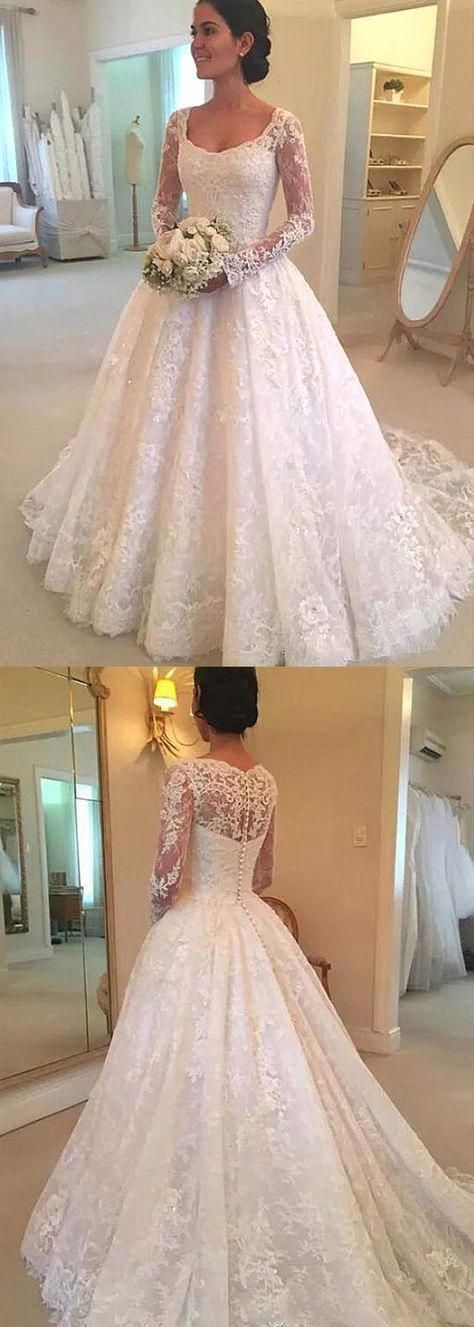 5cea4907605 Attractive Tulle Scoop Neckline A-Line Wedding Dress With Beadings   Lace