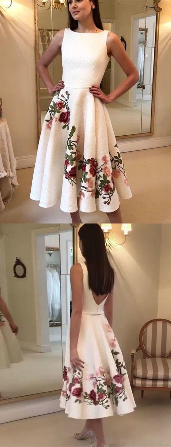 A-Line Bateau Backless Tea-Length White Prom Homecoming Dress with Appliques