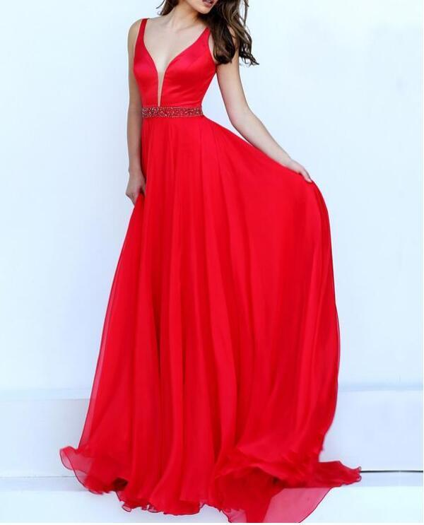 Red V-Neck A-Line Prom Dresses With Beads Flowing Chiffon & Stretch Satin Prom