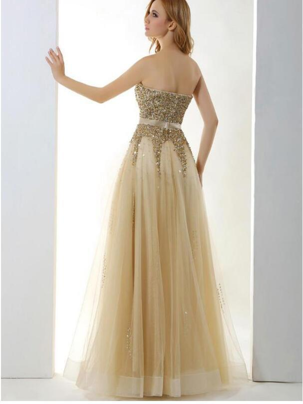 Neckline A-Line Prom Dresses With Beads Bling Tulle & Stretch Satin Stapless