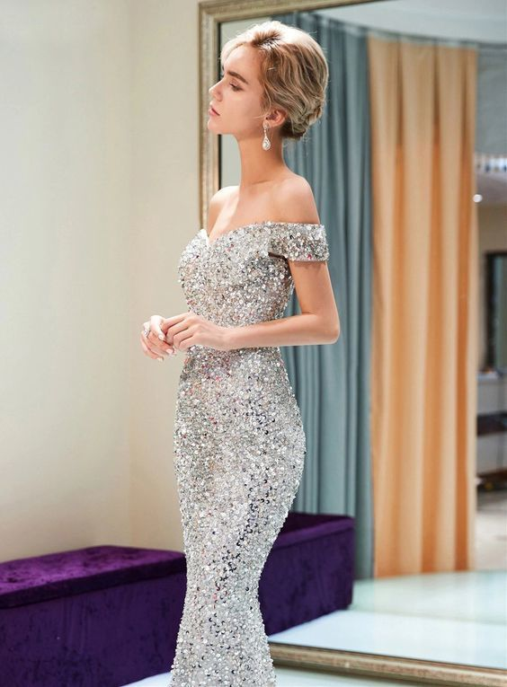 302c99f1941 Sparkly Off Shoulder Mermaid Silver Beaded Backless Sequin Prom Dresses