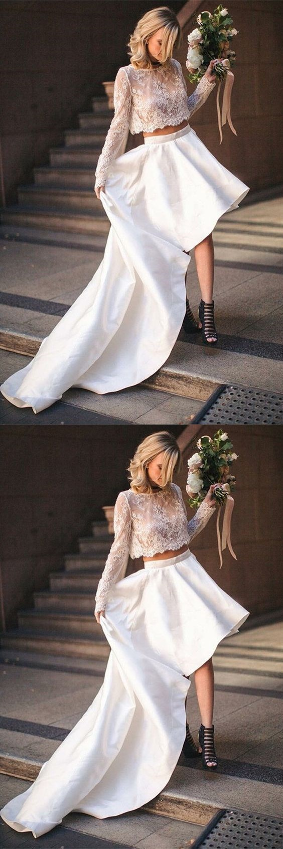 Two Piece Bateau High Low Satin Wedding Dress with Lace Top BD1619