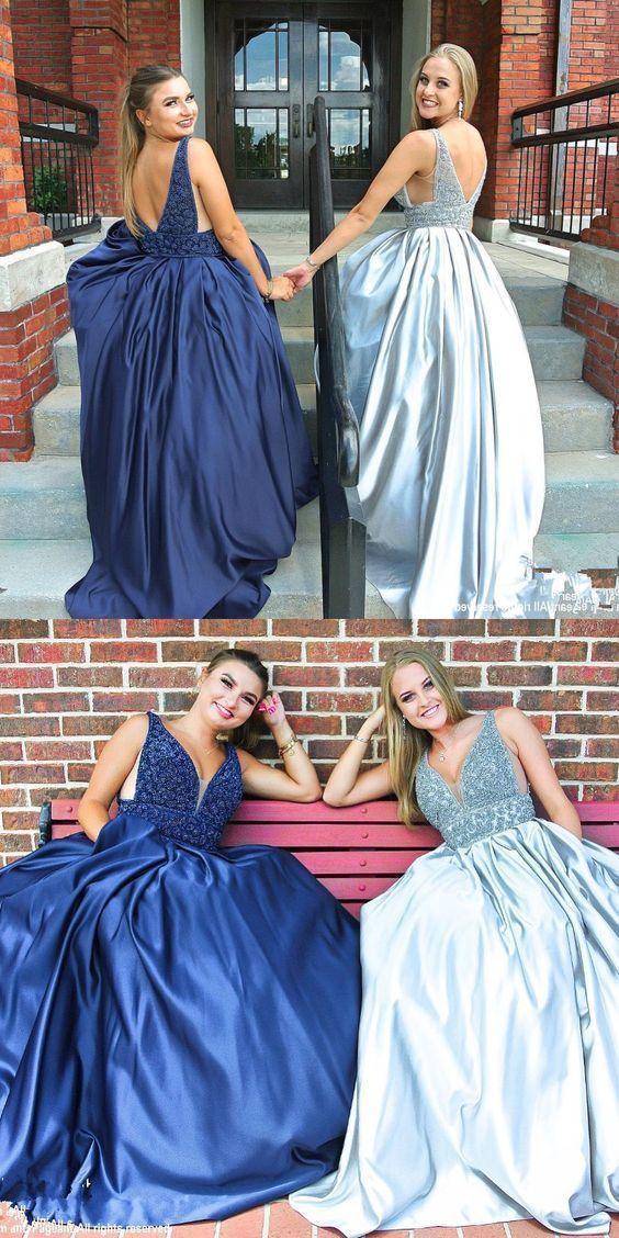 a1e6083d2c6f gorgeous long prom dress, navy blue/silver V neck prom dress, satin  graduation