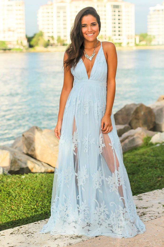 b808934430 Light Blue evening dress