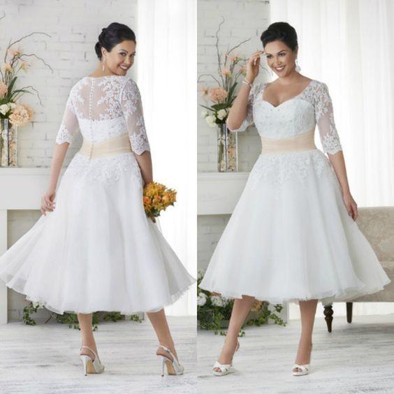 Elegant Plus Size Wedding Dresses A Line Short by RosyProm on Zibbet